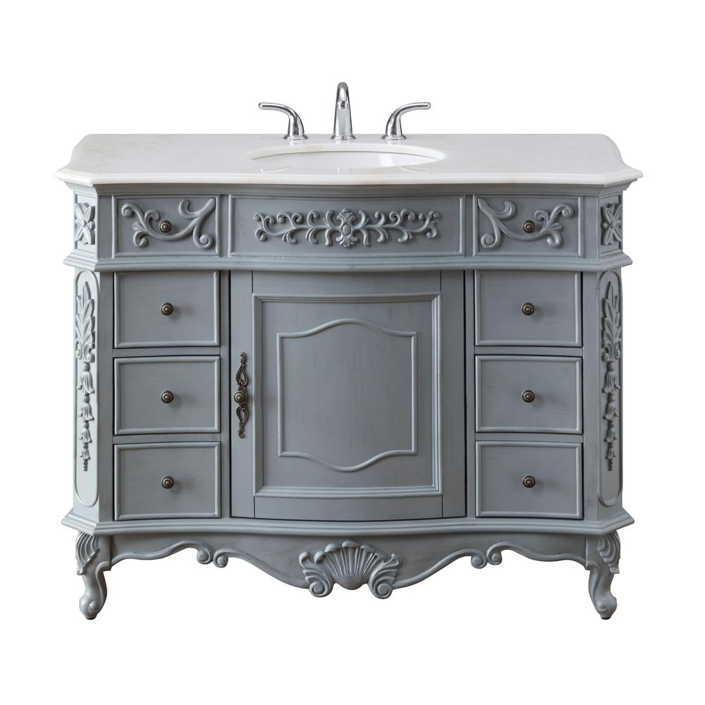 Home Decorators Collection Winslow 45 in. W x 22 in. D Bath Vanity in Antique Gray with Vanity Top in White Marble with White Basin