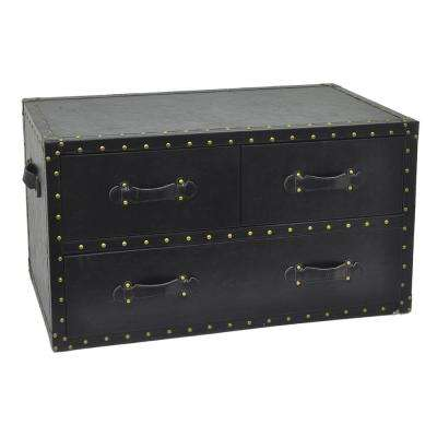 19.5 in. Black 3-Drawers Chest