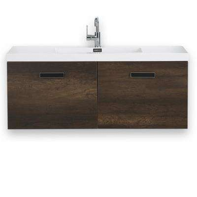 47.2 in. W x 18.3 in. H Bath Vanity in Brown with Resin Vanity Top in White with White Basin