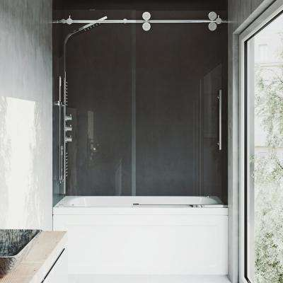 Frameless Sliding Tub Door In Chrome With Clear