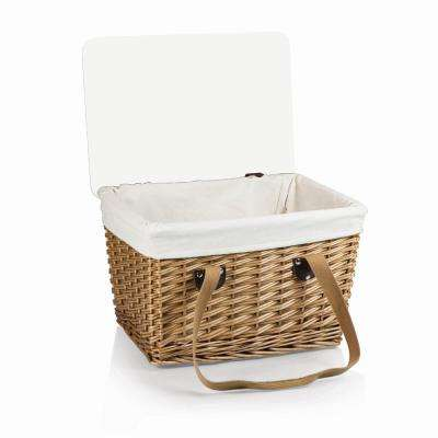 Canasta Natural Wicker Wood Picnic Basket with Brown Lid