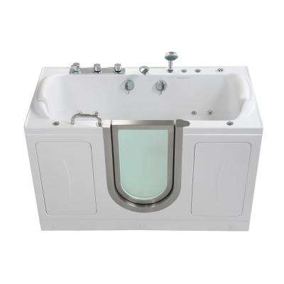 Companion 2 Seat 60 in. Walk-In Whirlpool and MicroBubble Air Bathtub in White, Center Door, Faucet Set,2 in. Dual Drain