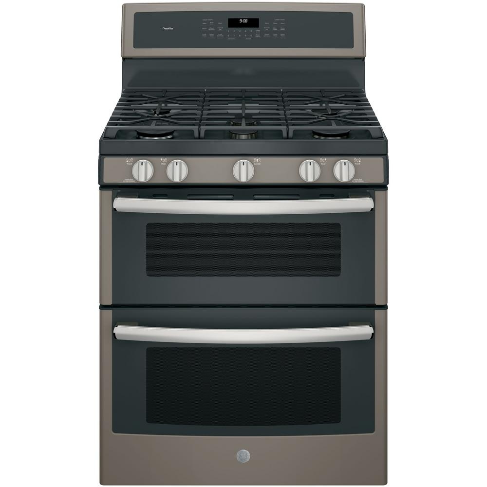 GE Profile 30 in. 6.8 cu. ft. Double Oven Gas Range with Self-Cleaning in Slate, Fingerprint Resistant