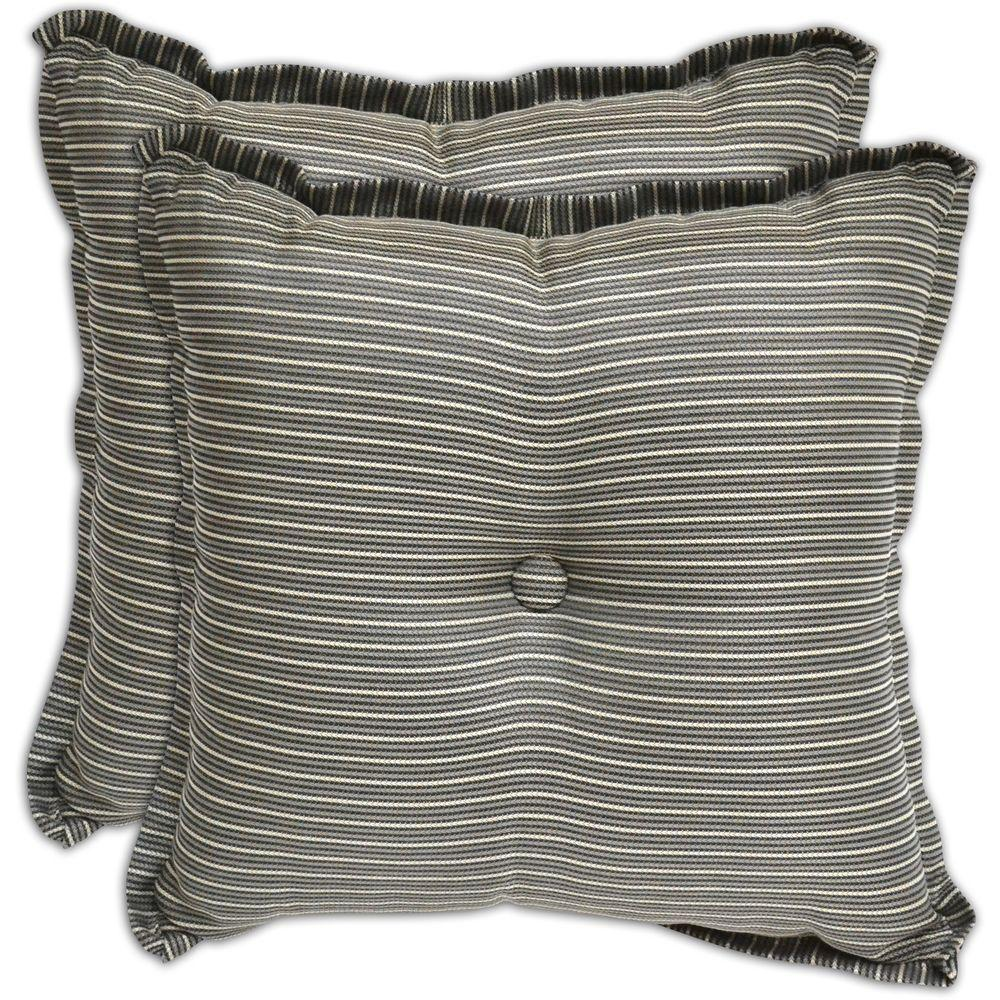 Plantation Patterns Black Textured Outdoor Throw Pillow (2-Pack)-DISCONTINUED