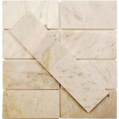 Crema Marfil 3 in. x 6 in. x 10 mm Marble Subway Wall Tile (40 pieces 5 sq. ft./Box)
