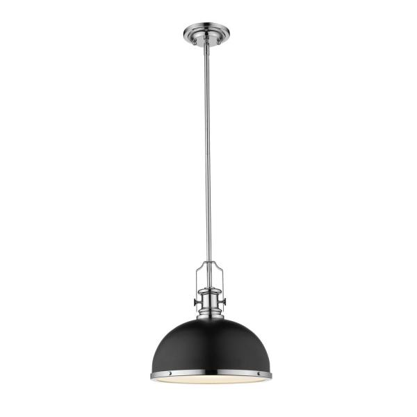 1-Light Matte Black and Chrome Pendant with Matte Black Metal and Glass Shade