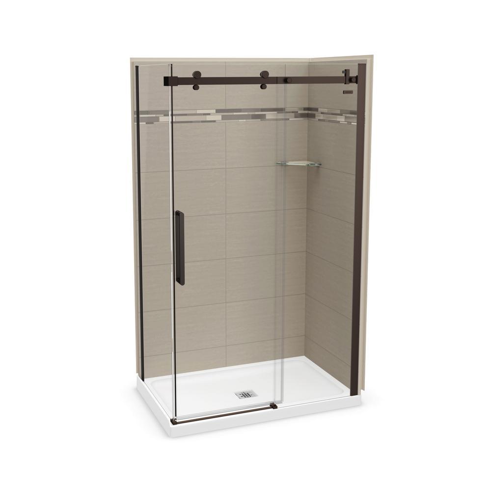 Utile Origin 32 in. x 48 in. x 83.5 in. Center Drain Corner Shower Kit in Greige with Dark Bronze Shower Door