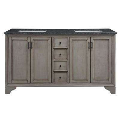 Hazelton 61 in. W x 22 in. D Double Bath Vanity in Antique Grey with Granite Vanity Top in Dark Grey