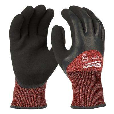 Large Red Nitrile Dipped Cut 3 Resistant Winter Insulated Work Gloves
