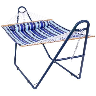 10.8 ft. L Quilted 2 Person Hammock with Universal Blue Steel Stand - Catalina Beach