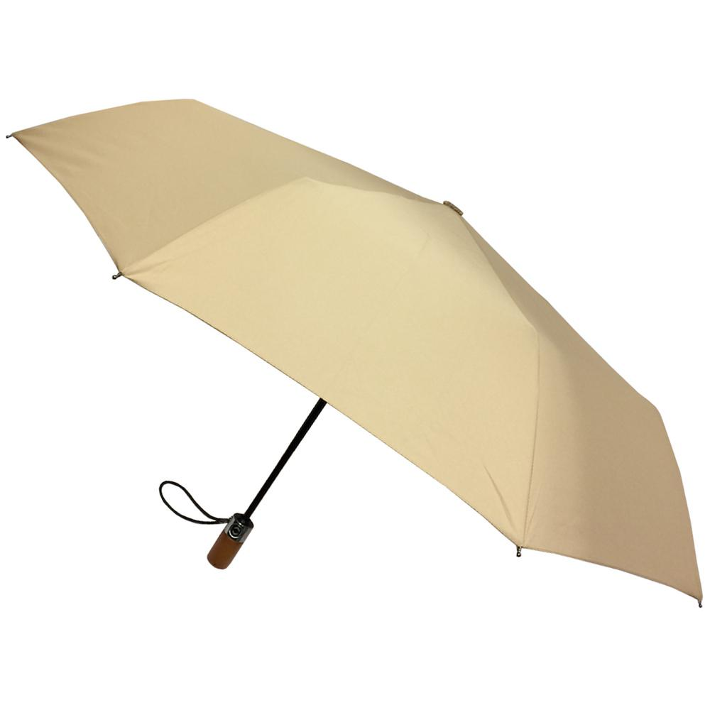 London Fog 44 in  Arc Canopy 3 Sectional Telescopic Mini Auto Open Auto  Close Umbrella in Desert