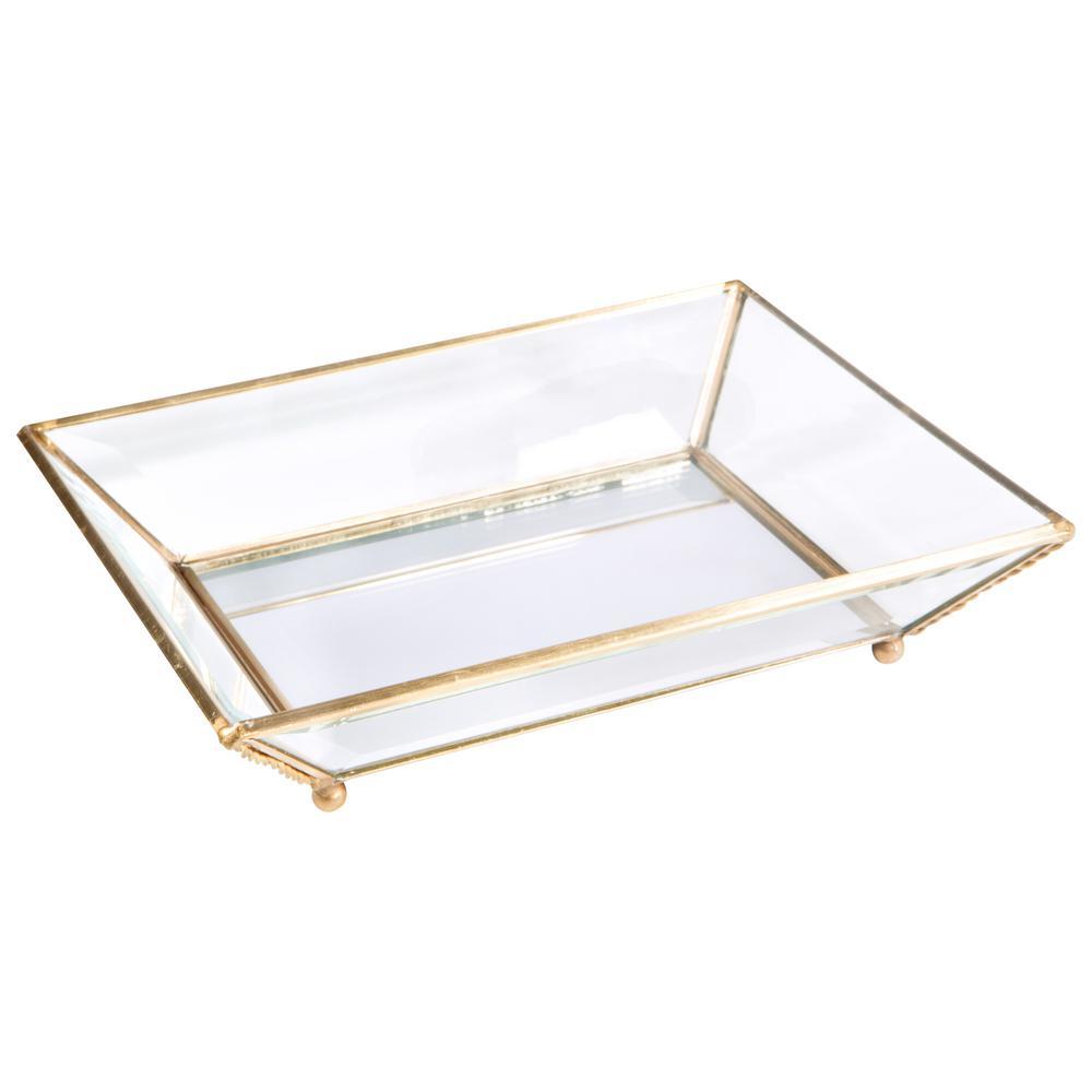 Vintage Gold Mirrored Bottom Glass Keepsake Tray