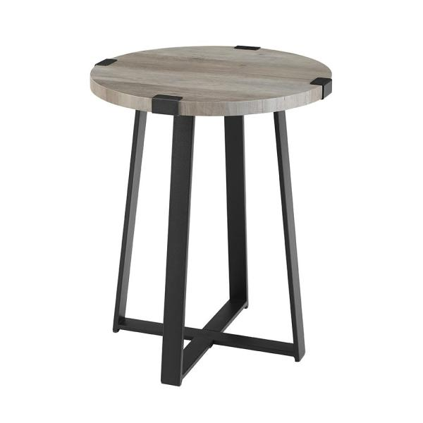 18 in. Grey Wash Rustic Urban Industrial Wood and Metal Wrap Round Accent Side Table