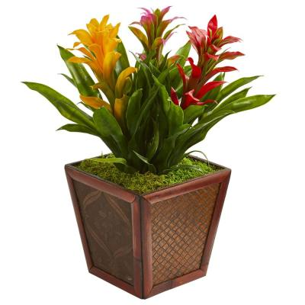 Triple Assorted Bromeliad Artificial Plant in Decorative Planter