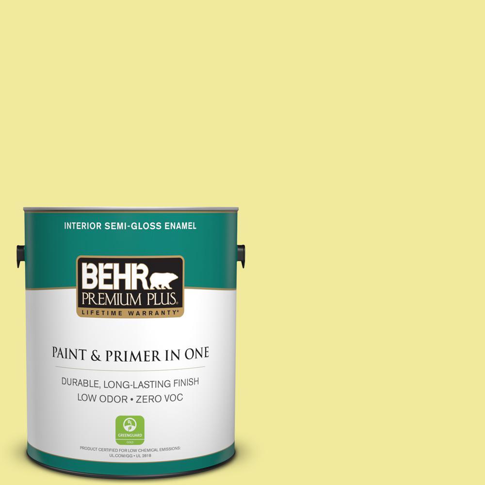 BEHR Premium Plus 1-gal. #400A-3 Pear Zero VOC Semi-Gloss Enamel Interior Paint