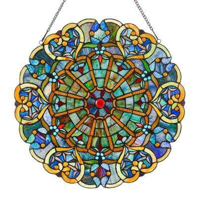 Multi-Colored Stained Glass Webbed Heart Window Panel