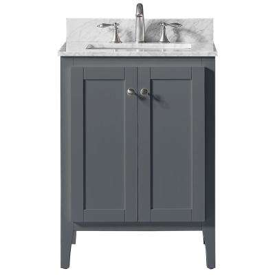 25 in. W x 22.4 in. D x 34.2 in. H Bath Vanity in Cashmere Grey w/ Carrara Marble Vanity Top in White w/ White Basin