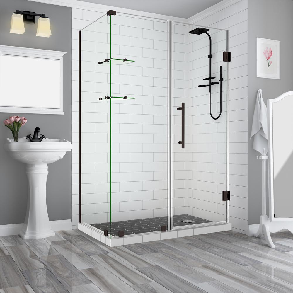 Aston Bromley Gs 69 25 In 70 25 In X 38 375 In X 72 In Frameless Corner Hinged Shower Door With Glass Shelves In Bronze Sen962ez Nbr 703638 10 The Home Depot