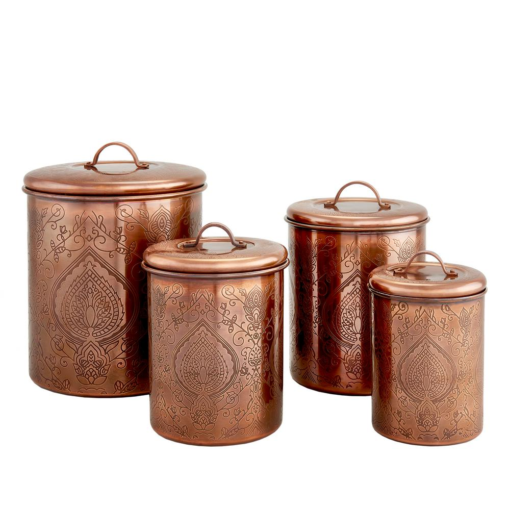 Old Dutch Tangier Antique Copper Etched Canisters Set of 4 916CU