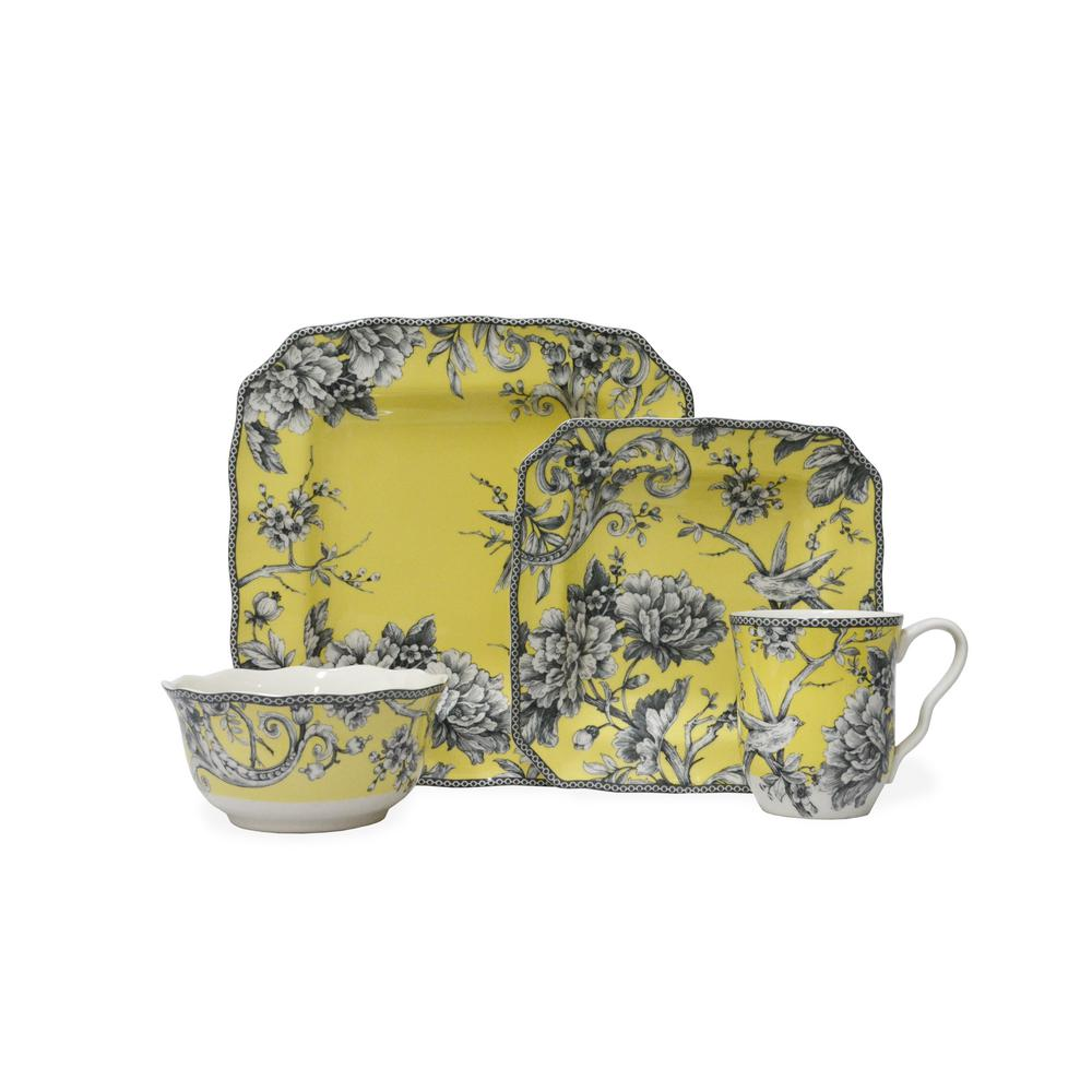 222 Fifth Adelaide Yellow 16-Piece Dinnerware Set