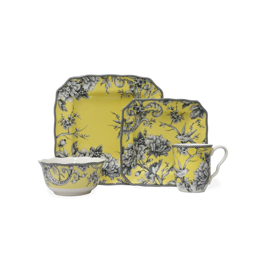 Adelaide Yellow 16-Piece Dinnerware Set