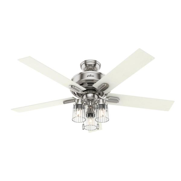 Lucille 52 in. LED Indoor Brushed Nickel Ceiling Fan with Light