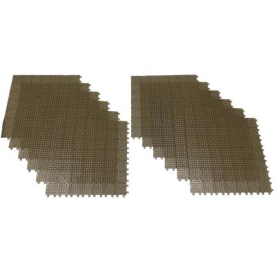 Tan Regenerated 22 in. x 22 in. Polypropylene Interlocking Floor Mat System (Set of 12 Tiles)