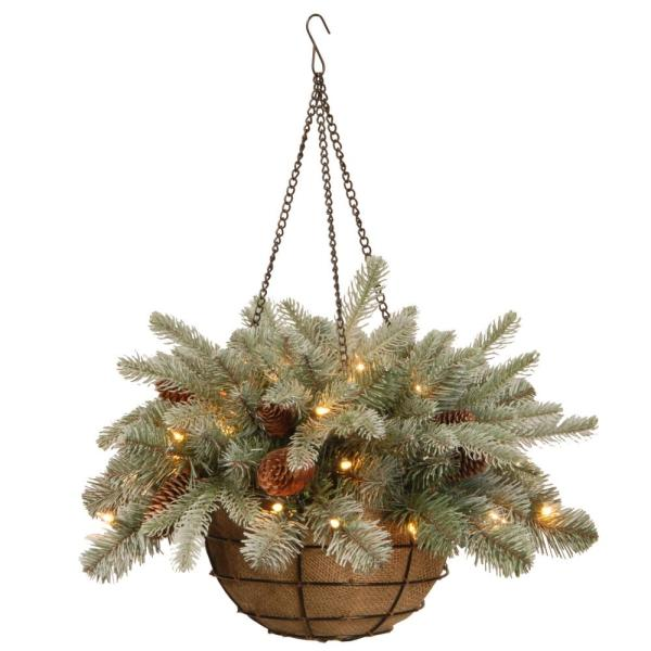 20 in. Frosted Arctic Spruce Hanging Basket with Battery Operated Warm White LED Lights