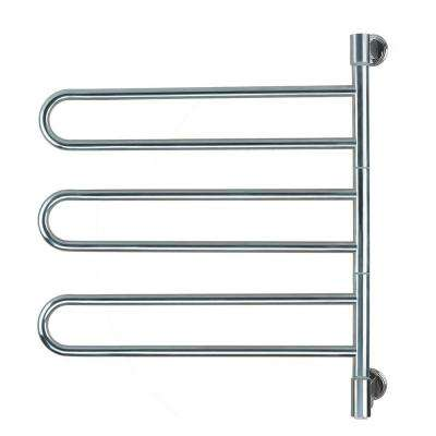 Swivel Medium Jill Plug-In 25 in. W x 29.25 in. H 6-Bar Electric Towel Warmer in Brushed Stainless Steel