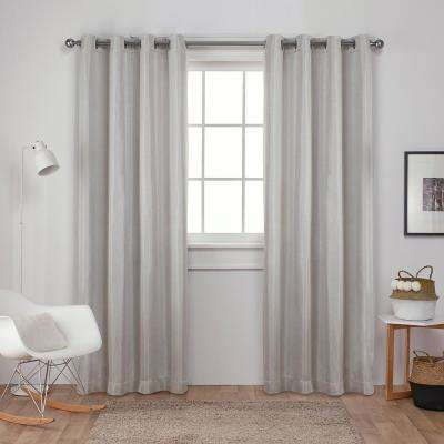 Carling 52 in. W x 96 in. L Woven Blackout Grommet Top Curtain Panel in Vanilla (2 Panels)