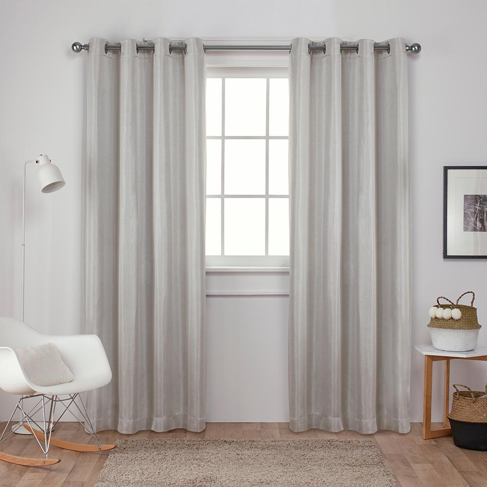 Carling vanilla basketweave textured woven blackout grommet top window curtain