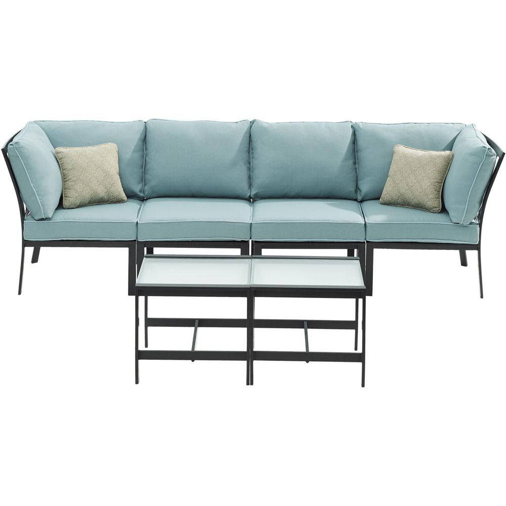 Brooklyn 6-Piece Metal Patio Seating Set with Blue Cushions