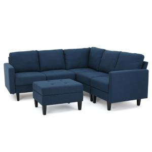 6-Piece Dark Blue Polyester 6-Seater L-Shaped Right-Facing Sectional Sofa with Ottoman