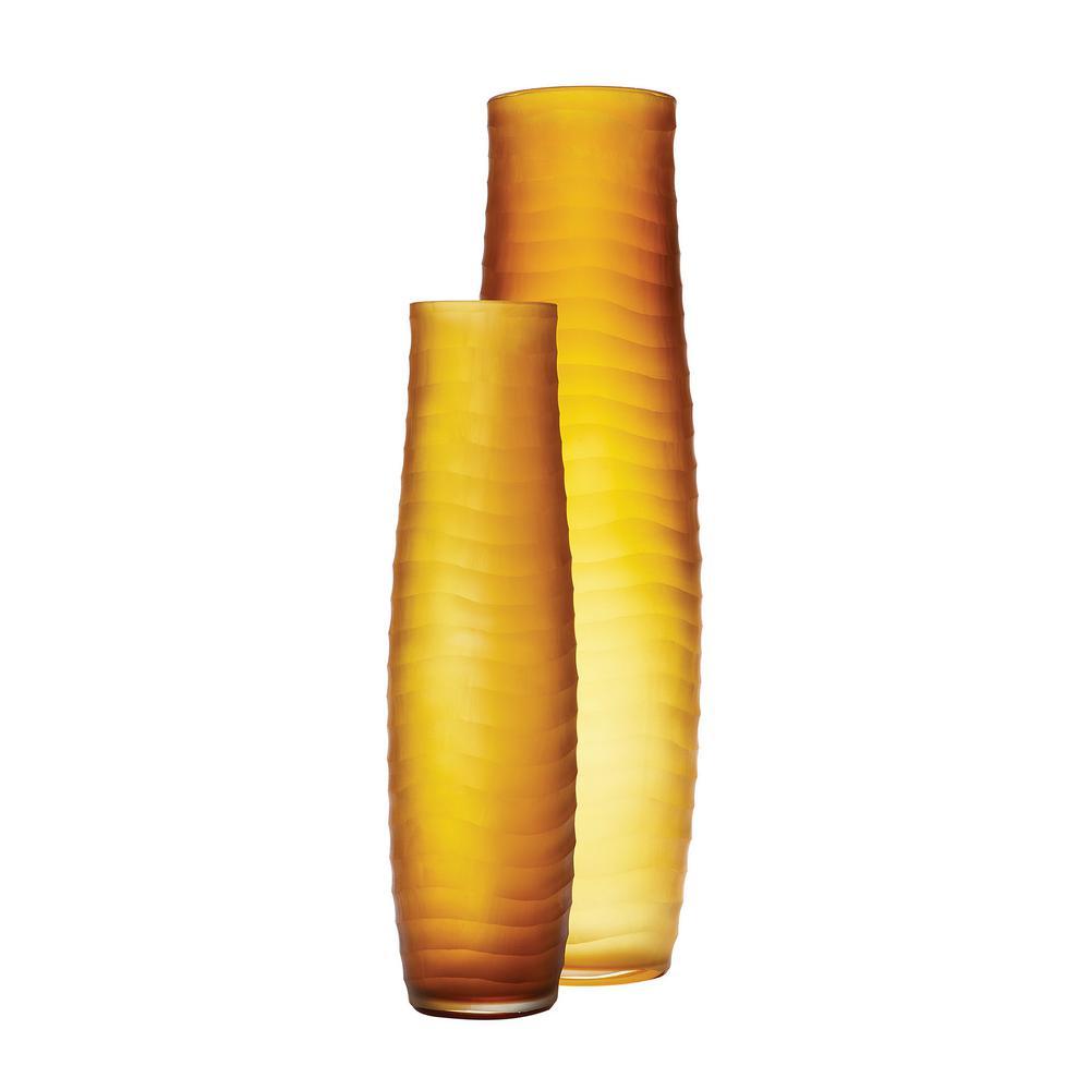 Titan lighting matte cut glass decorative vases in amber set of 2 titan lighting matte cut glass decorative vases in amber set of 2 tn 892247 the home depot reviewsmspy