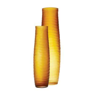 Matte Cut Glass Decorative Vases in Amber (Set of 2)