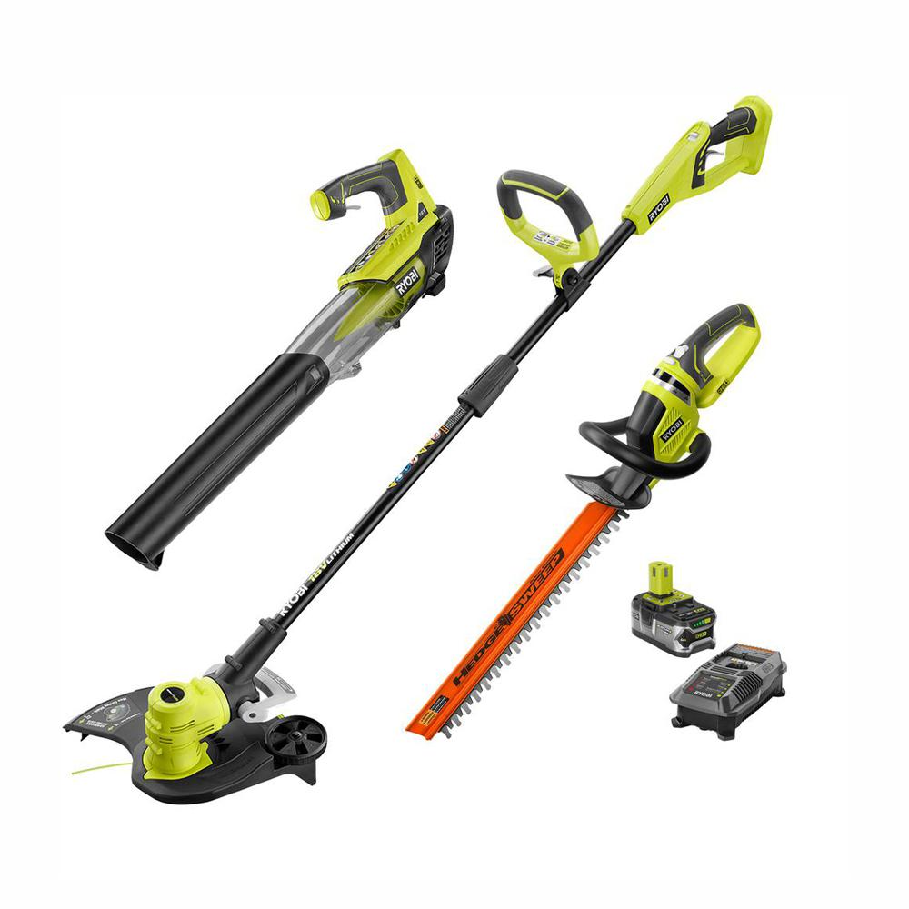 RYOBI ONE+ Lithium+ 18-Volt Lithium-Ion Cordless Trimmer/Blower/Hedge Combo Kit - 4.0 Ah Battery and Charger Included