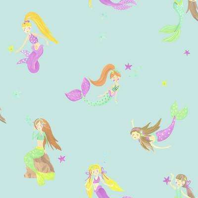 Mermaid World Teal Wallpaper un-pasted