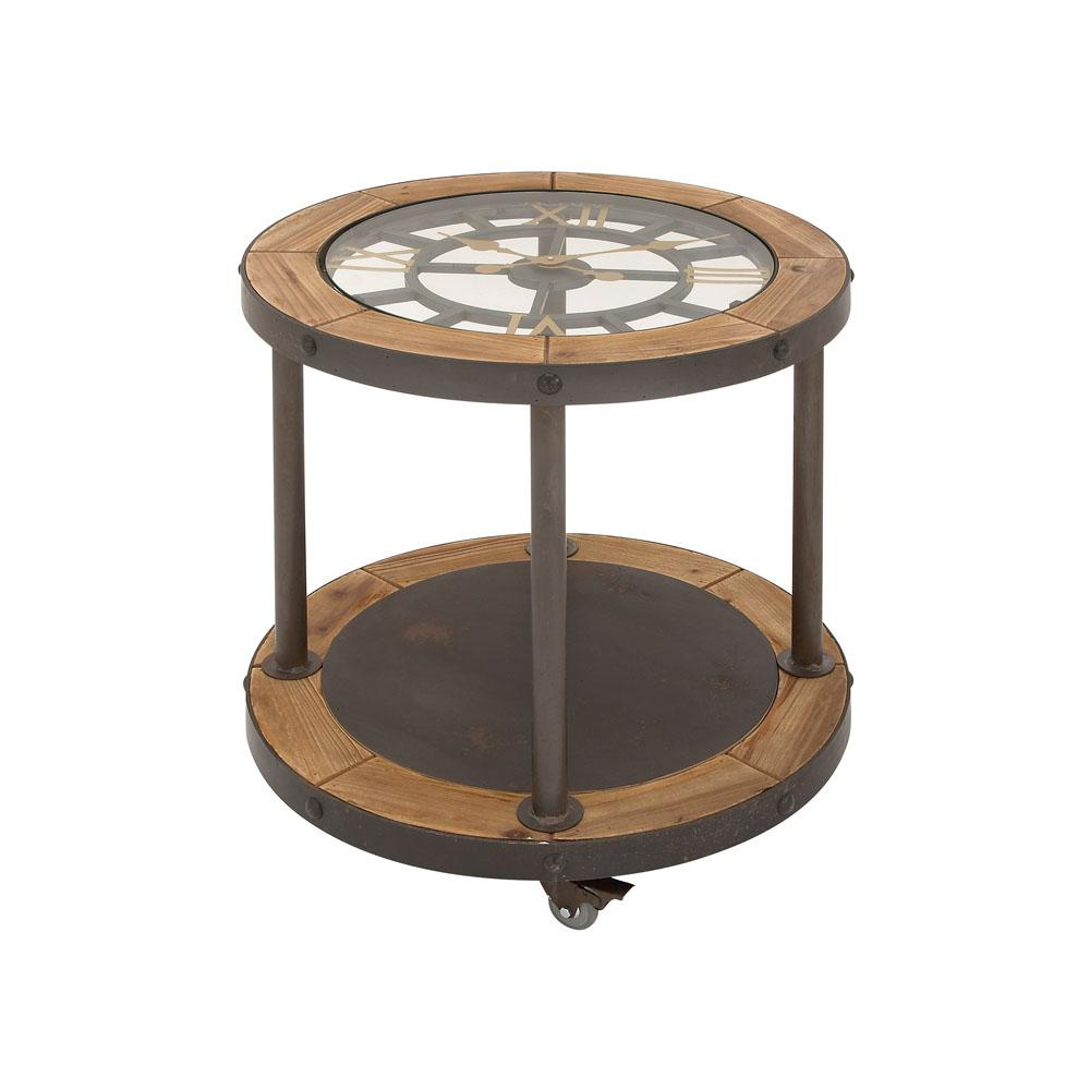 Black Iron Clock Face Side Table with a Stained Brown Wooden