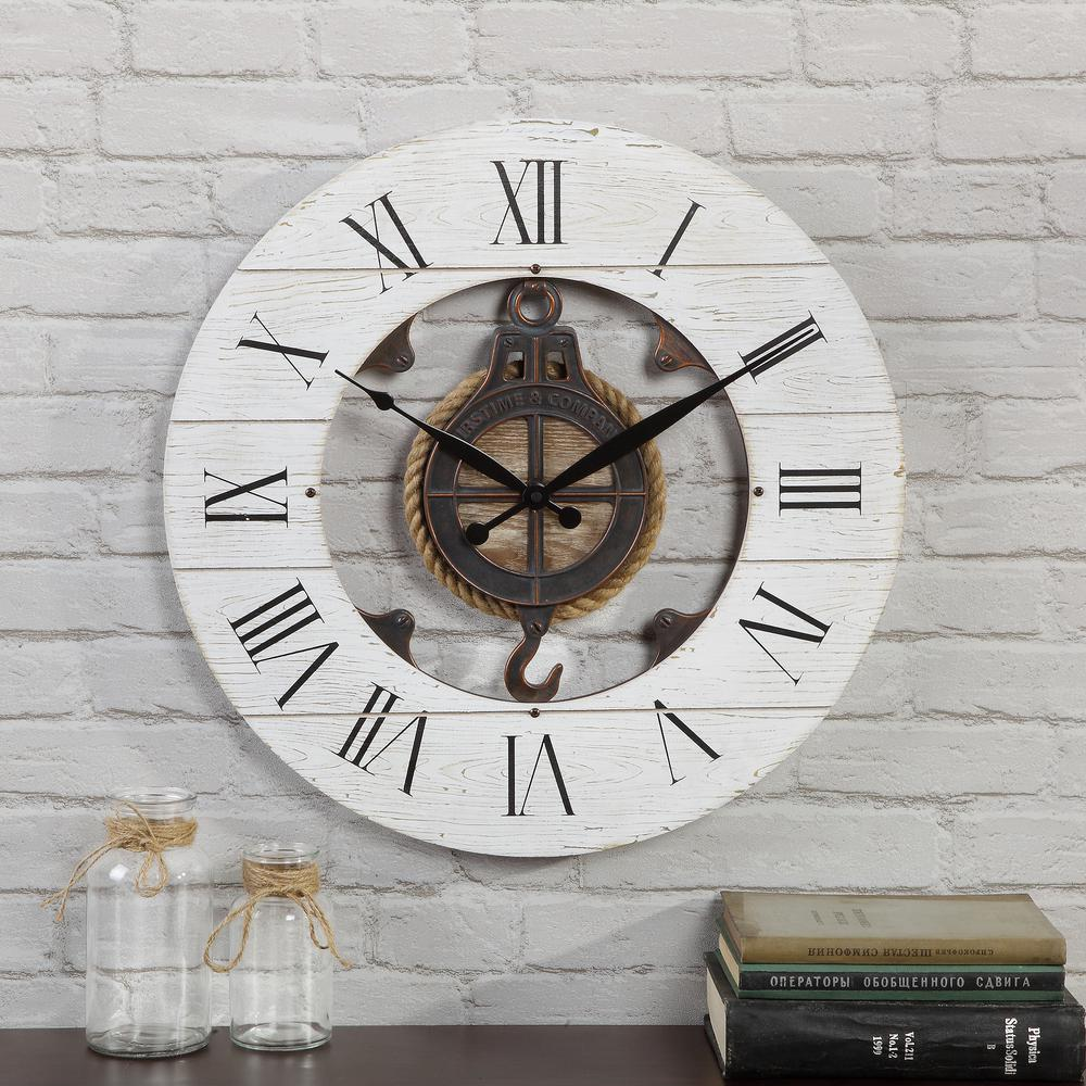 Distressed Gray Wall Clock With Pulley Sturdy Distressed Finish Nautical decor