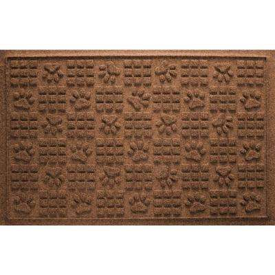 Dark Brown 24 in. x 36 in. Dog Paw Squares Pet Mat