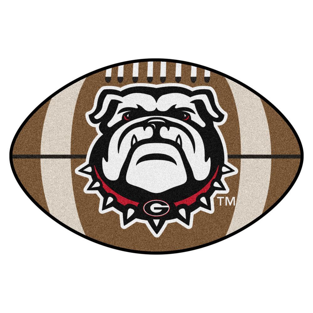 NCAA University of Georgia 20.5 in. x 32.5 in. Football Mat Area Rug