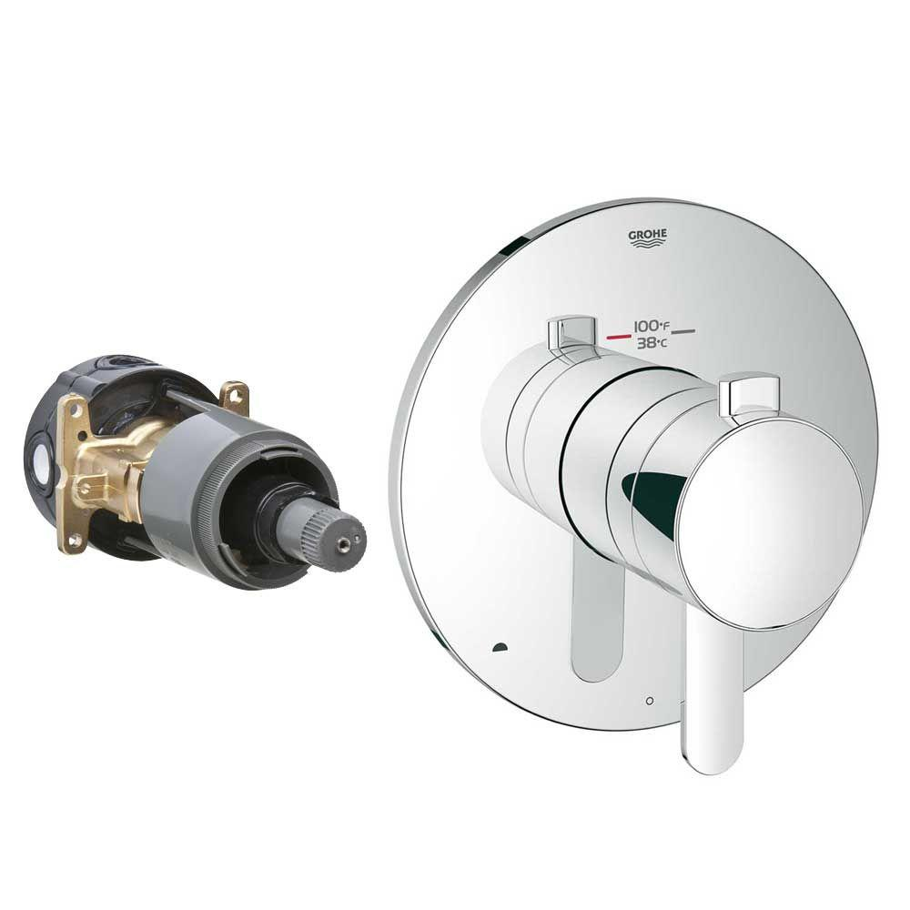 GROHE Cosmopolitan Single Handle GrohFlex Universal Rough-In Box Dual Function Thermostatic Kit in Chrome