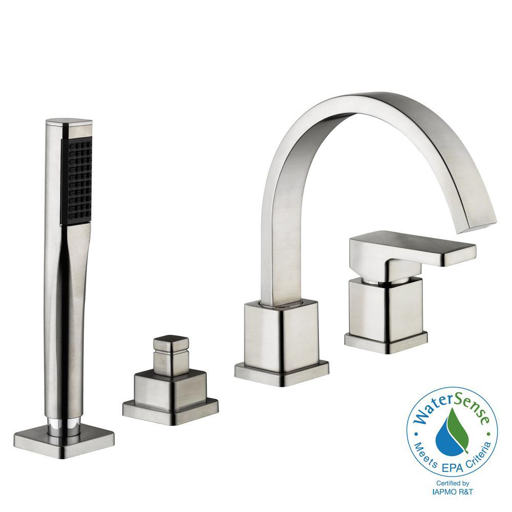 Delightful Schon Marx Single Handle Deck Mount Roman Tub Faucet With Handshower In Brushed  Nickel