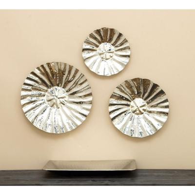 Contemporary Set of 3 Fluted Wall Discs