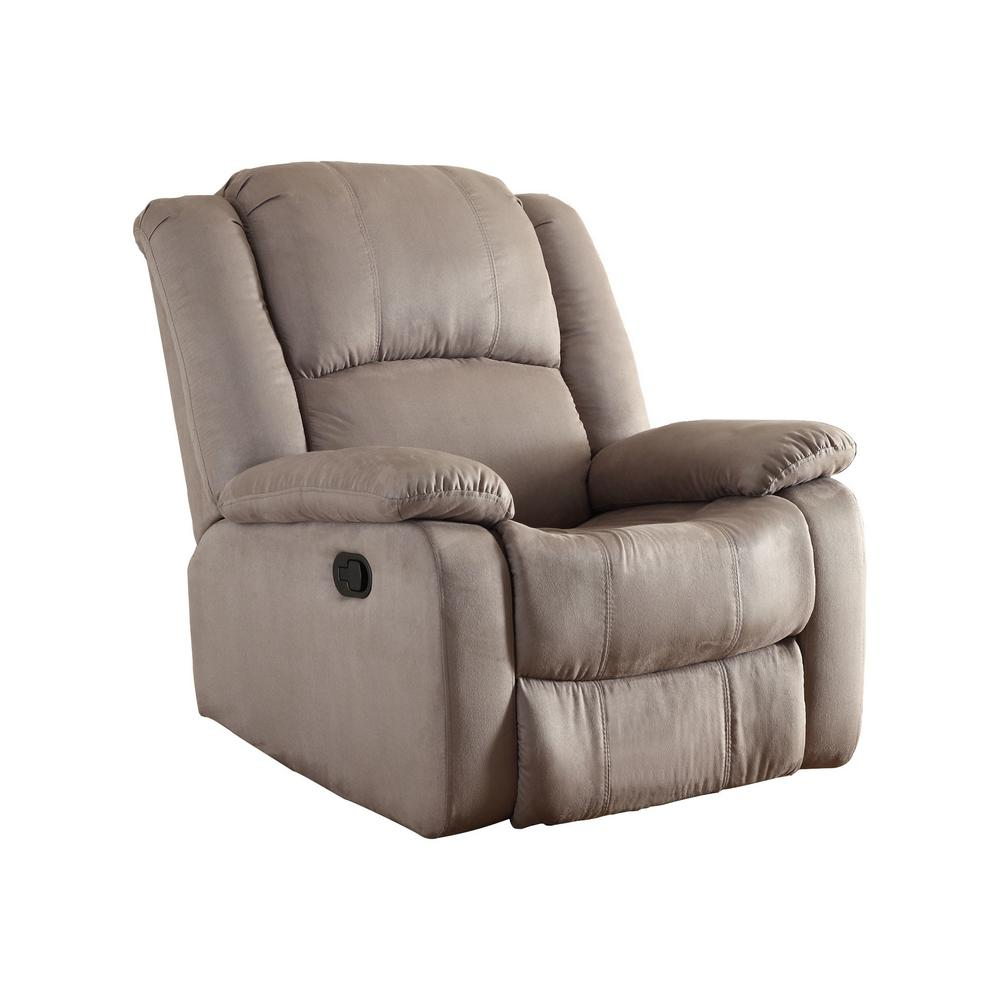 Gray microfiber recliner 73012 91gy the home depot