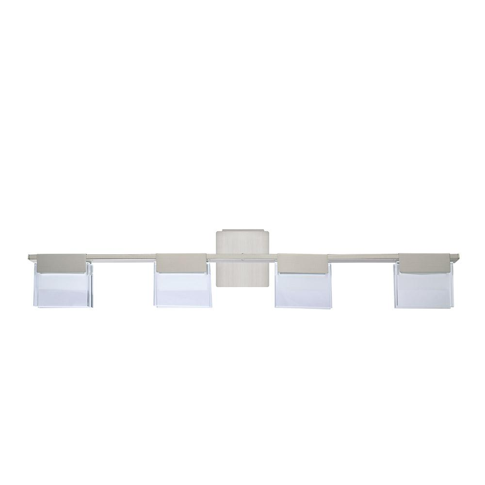 eglo vicino 100 watt matte nickel integrated led bath light 201862a the home depot. Black Bedroom Furniture Sets. Home Design Ideas