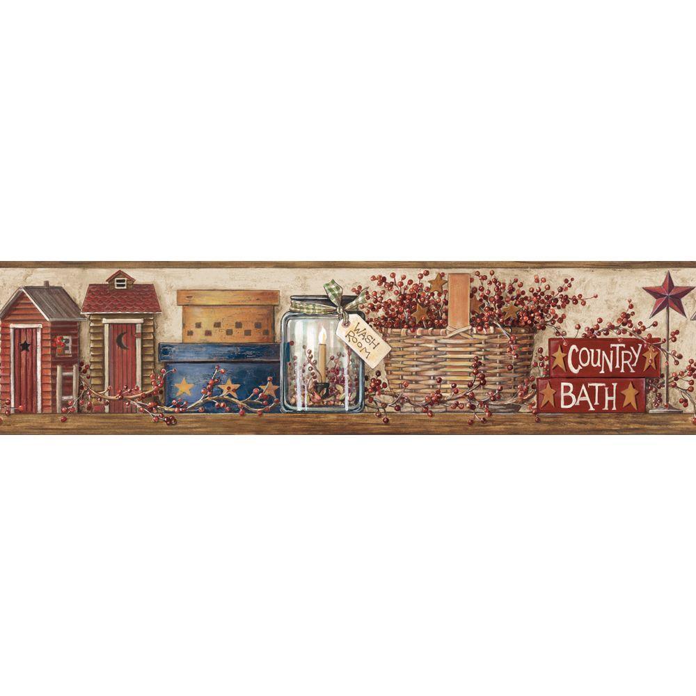 Country Bath Wallpaper Border Hk4648bd The Home Depot