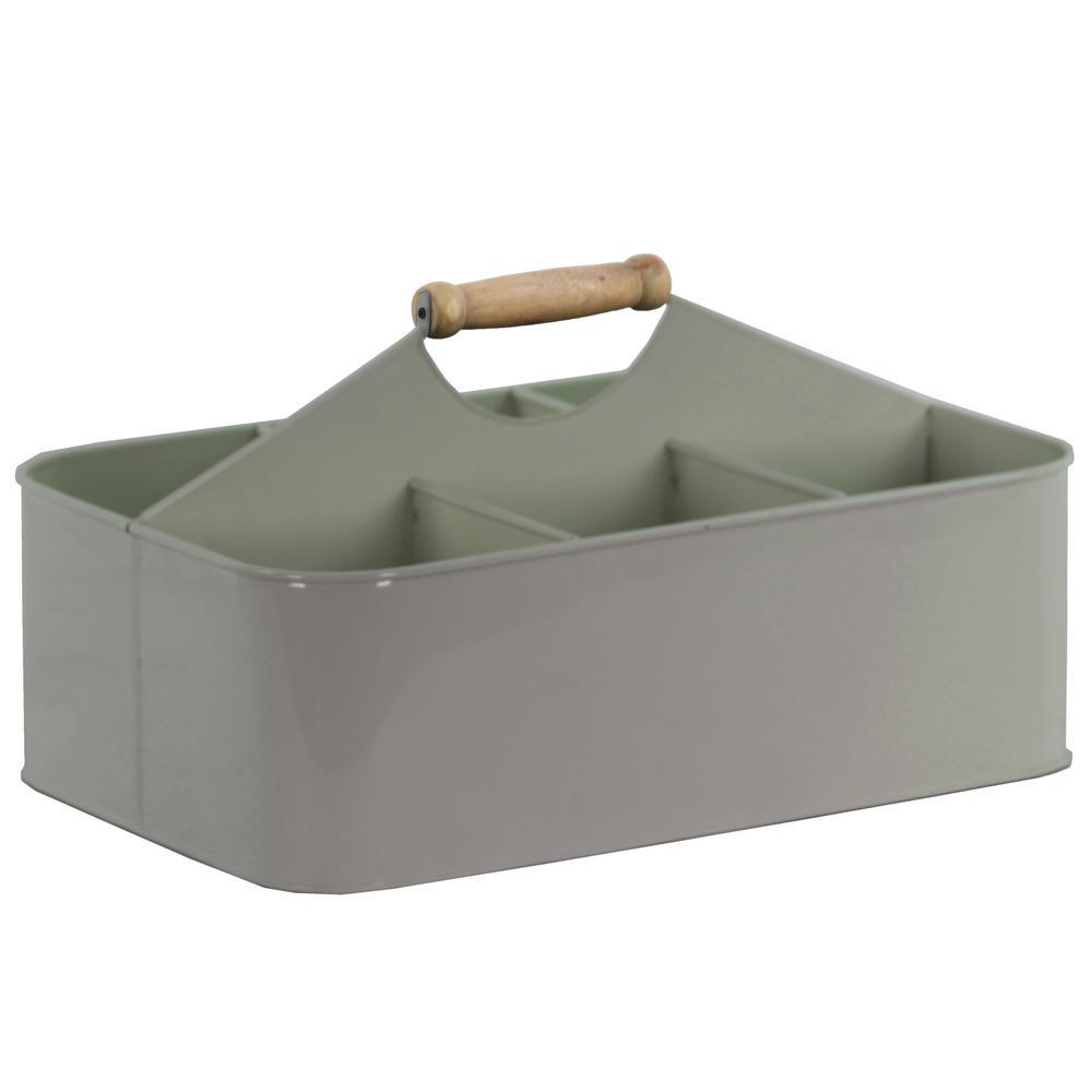 Rectangle Metal Coated Finish Gray Decorative Basket