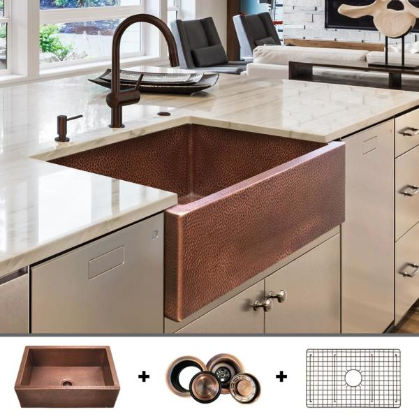 Fossil Blu Luxury 30 In Heavy 12 Gauge Copper Farmhouse Kitchen Sink Flat Front Single Bowl Includes Grid And Flange Fsw1104 The Home Depot