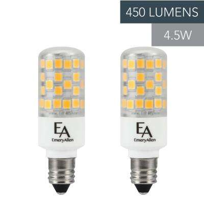50-Watt Equivalent E11 Base Dimmable 2700K LED Light Bulb Warm White (2-Pack)